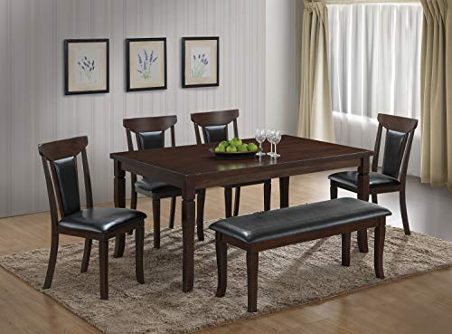 Mollai Collection 6 Pc Dining Table and 4 Chairs and Bench - Dark cappuchino Brown - Houston tx (Houston Chairs Dining)