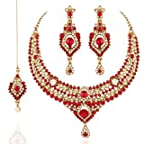 I Jewels Jewellery Set with Maang Tikka for Women M4045R (Red)