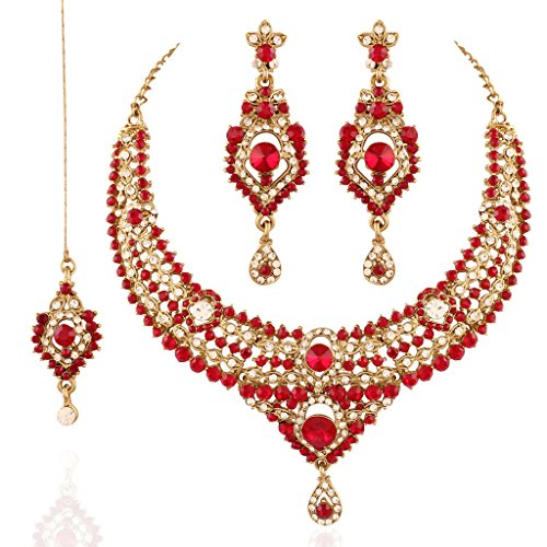 I Jewels Jewellery Set with Maang Tikka for Women M4045R (Red) by I Jewels