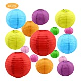 """Syviva 16 Pack Colorful Paper Lanterns (Multicolor,Size of 4"""", 6"""", 8"""", 10"""") - Chinese/Japanese Paper Hanging Decorations Ball Lanterns Lamps for Home Decor, Parties, and Weddings"""