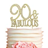 90 and Fabulous GOLD Cake Topper   Premium Sparkly Crystal Rhinestones   90th Birthday Party Decoration Ideas   Quality Metal Alloy   Perfect Keepsake (90&Fab Gold)
