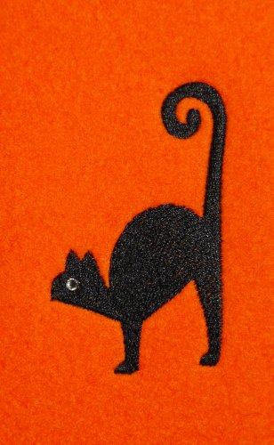 Custodia in feltro per iPhone 4/S, 3, Arancione, gatto, ricamato, decorato con cristalli Swarovski;