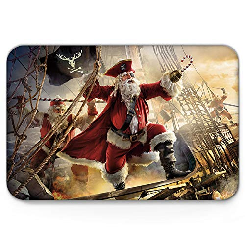 Non Slip Welcome Doormat for Bedroom Living Room Kitchen Entrance Mat,Santa Claus Dressed Up As Pirates,Durable Washable Shoes Scraper Indoor Carpet,18 x 30 Inch]()