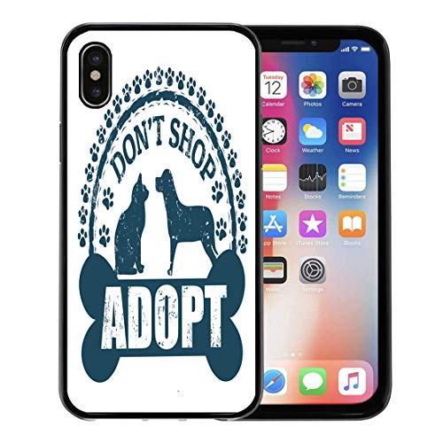 Semtomn Phone Case for Apple iPhone Xs case,Dog Don Adopt Rubber Stamp on White Pet Paw Cat Vintage Animal for iPhone X Case,Rubber Border Protective Case,Black
