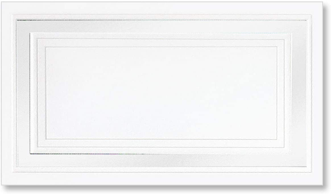 PaperDirect White 65lb Cover Stock Place Cards, White Foil Border, Micro-Perforated, 2