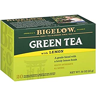 Bigelow Green Tea with Lemon Tea Bags 20-Count Box, (Pack of 6), Caffeinated 120 Tea Bags Total, Set of 2