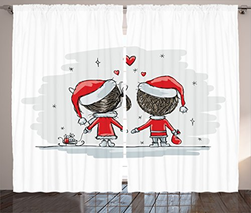 Ambesonne Christmas Curtains, Soul Mates Love With Santa Costume Family Romance in Winter Night Picture Print, Living Room Bedroom Window Drapes 2 Panel Set, 108 W X 84 L Inches, Red White