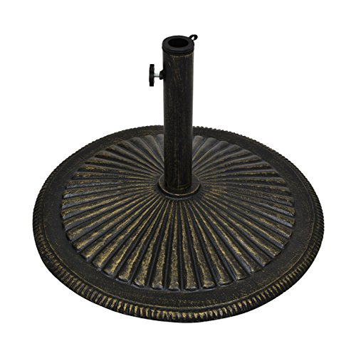 Best Choice Products 50lb Round Heavy-Duty Cast Iron Rustic Patio Umbrella Base Stand w/Removable Stem, Tightening Knob - Bronze