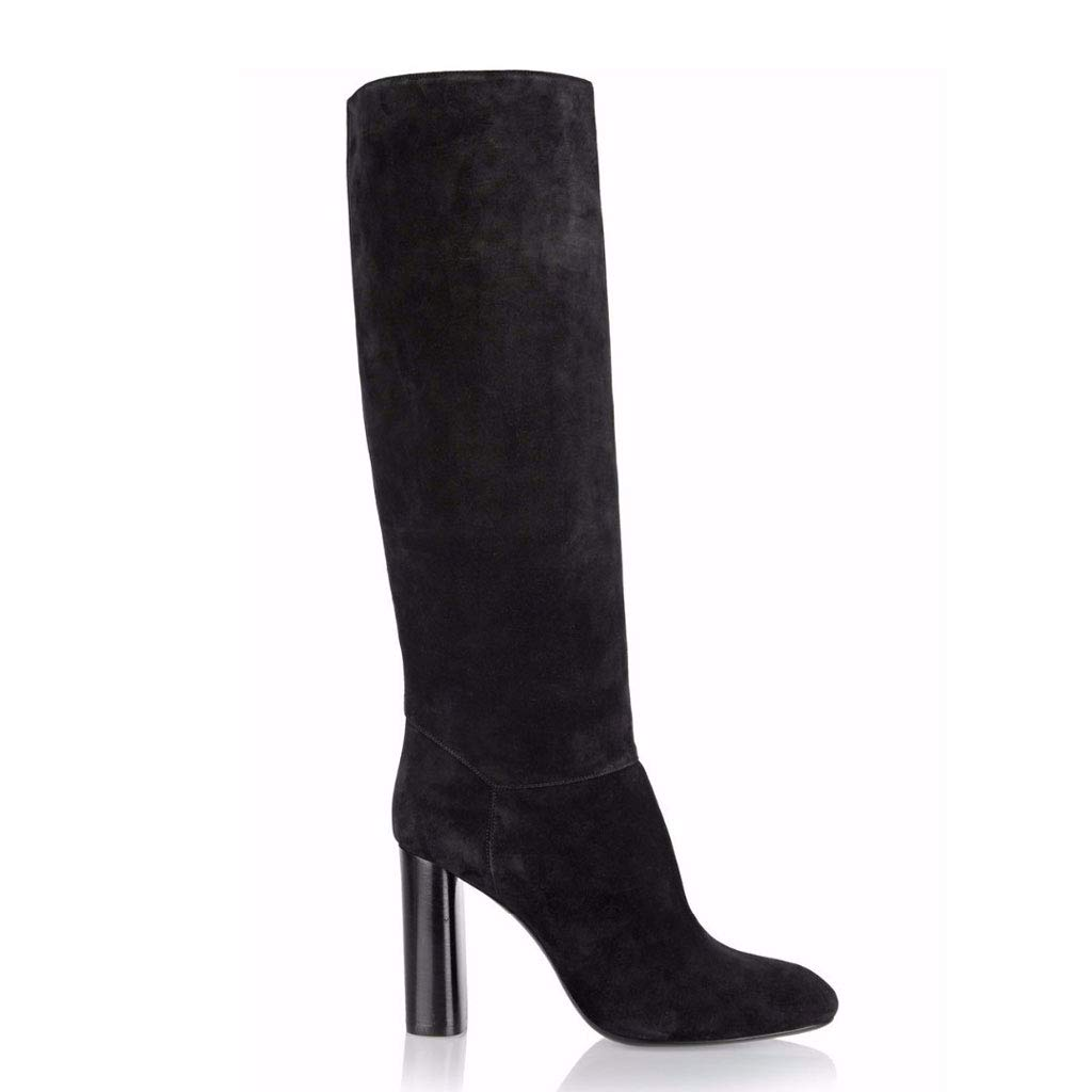 Women's High Heel and Knee Boots Boots Round Head Thick with Boots Knee Side Zipper Waterproof Platform Elastic High Boots,Black,45 B07GZGRNM2 Boots 9cef51