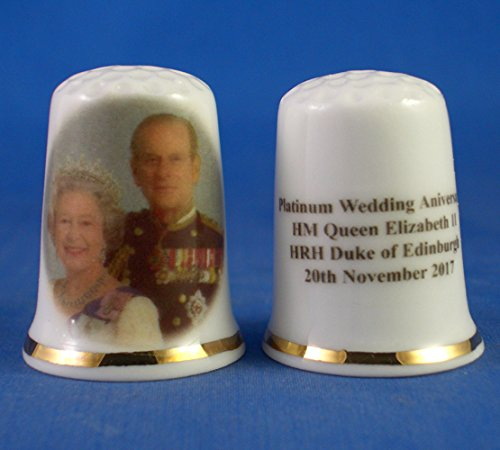 Birchcroft Porcelain China Collectable Thimble -- H M Queen Elizabeth & Prince Philip Platinum Anniversary Birchcroft China