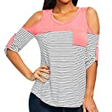 Software : AIMTOPPY Summer Top, Fashion Womens Cutout Open Shoulder Striped Tee Strapless O-Neck Pockets Tops (XL, Pink)