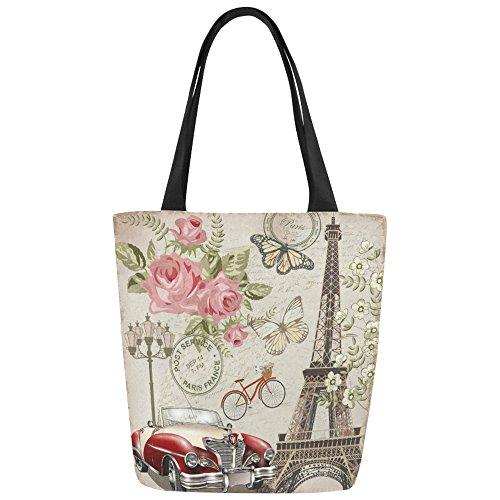 Women Girl Canvas Travel Handbag Shoulder Shopping Bag Paris Eiffel - 1