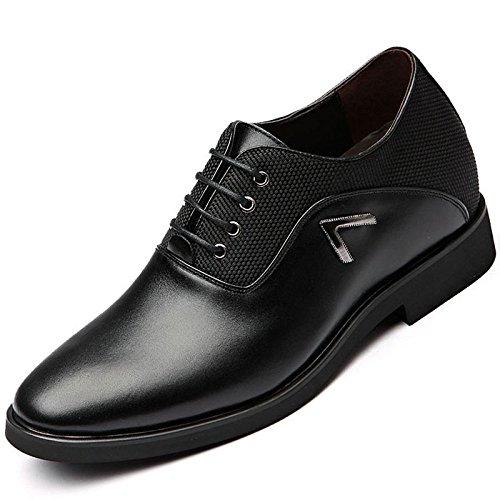 Homme Classique Chaussures En Cuir Bout Pointu Derby Chaussures à Lacets 8cm Oxford Business Formel De Mariage Casual Chaussures Uniformes Black l31aLsx
