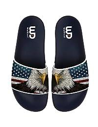 The American Flag Star Bald Eagle Open Toe Slide Sandal For Men's Women Soft Non-slip Fashion Comfortable Lightweight Unisex