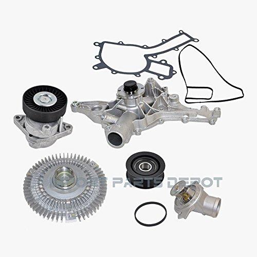 Mercedes Water Pump Fan Clutch Thermostat Tensioner Idler Pulley Kit 1122000970 0002020919 1122001501 1122000122 1122030275 (5pcs) C240 C280 C320 C43 AMG CL500 CLK320 CLK500 CLS500 E320 E430 E500 G500 (Mercedes Fan C43 Clutch)