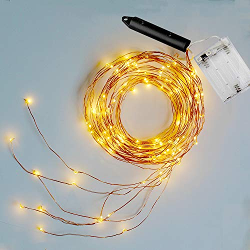 Soltuus 2 Pack 120 LED String Fairy Lights, Battery Operated Starry Copper String Lighting, Waterproof Watering Can Light, Firefly Moon for Plants Tree Vines Decorations Party, Warm White