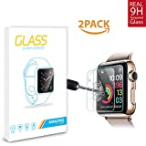Amazingforless (2 Pack) 38mm Apple Watch Screen Protector For Series 1, 2 and 3, Premium Anti Scratch Tempered Glass Screen Protector (Only Covers the Flat Area)