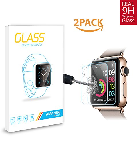 Amazingforless (2 Pack) 42mm Apple Watch Screen Protector For Series 1, 2 and 3, Premium Anti Scratch Tempered Glass Screen Protector (Only Covers the Flat Area)