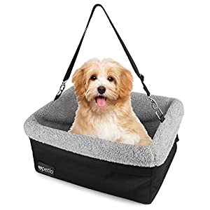 Petlo Dog Booster Car Seat with Soft Luxurious Fleece - Waterproof Padded Bottom - Clip On Leash - Headrest and Seat Straps - for Dogs and Cats up to 20lbs 48