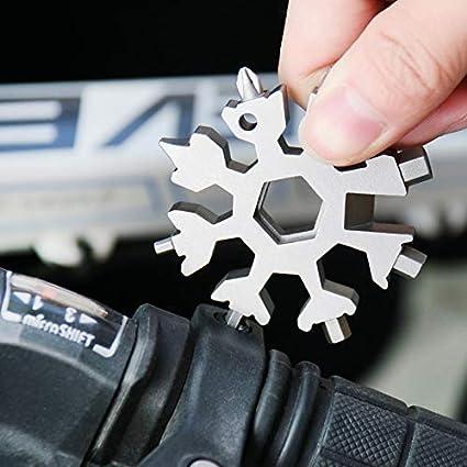 OHNE GESCHENKVERPACKUNG Bequee 18-in-1 Edelstahl Schneeflocken Multi-tool Standard Begeister Snowboard-Multitool Edelstahl SCHWARZ