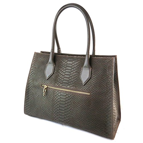 "Jacques ESTEREL [N7718] - Sac cuir ""Jacques Esterel"" marron (motif python)"