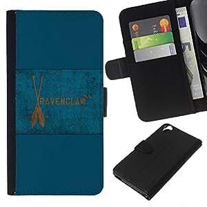 JackGot ( Bandera de Ravenclaw ) HTC Desire 820 la tarjeta de Crédito Slots PU Funda de cuero Monedero caso cubierta de piel