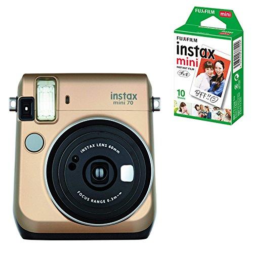(チェキフィルム10枚セット) フジフイルム インスタントカメラ チェキ instax mini 70N ゴールド (FUJIFILM)   B07FF5FSHV