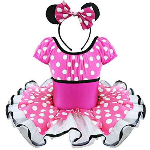 YiZYiF Toddlers Girls' Birthday Party Tutu Dress Up With 3D Ears Headband (2T, Hot Pink Tutu)
