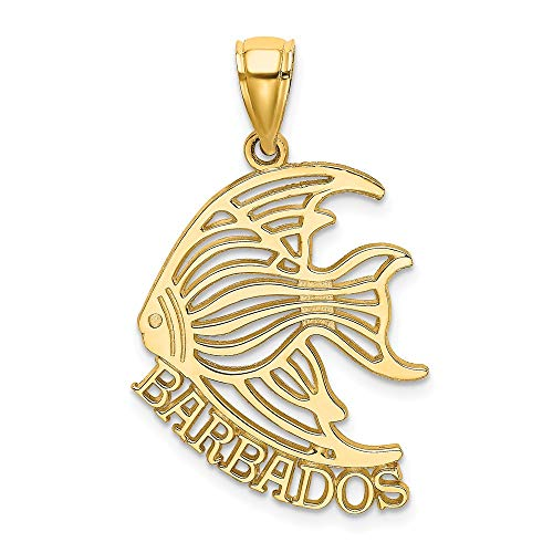 14k Yellow Gold Barbados Under Angelfish Pendant Charm Necklace Travel Transportation Sea Life Fish Angel Fine Jewelry Gifts For Women For Her