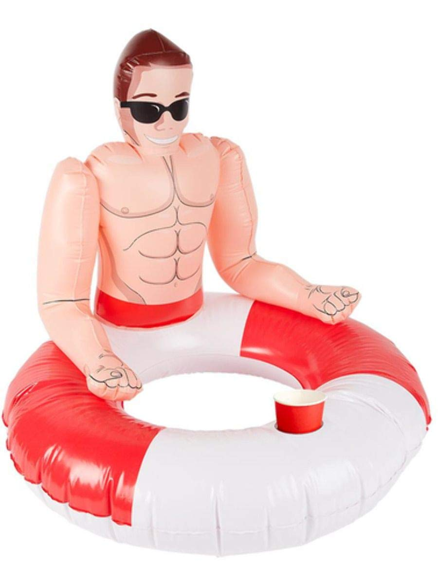 Inflatable Lifeguard Hunk Swim Ring by Smiffys