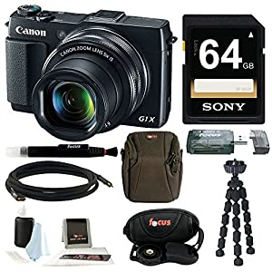 Canon PowerShot G1 X Mark II Digital Camera + 64GB Memory Card + Short Zoom Soft Shell Camera Case + Deluxe Accessory Kit