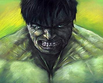 Hulk Marvel Avengers Dessin Pastel Brillant Sur Toile Par