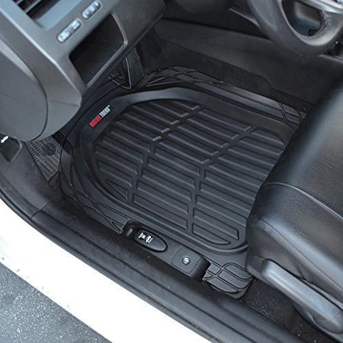 Motor Trend 4pc Black Car Floor Mats Set Rubber Tortoise