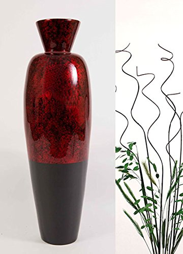 Green Floral Crafts 28'' Tall Lacquer Asian Vase & Branches - Red Swirl