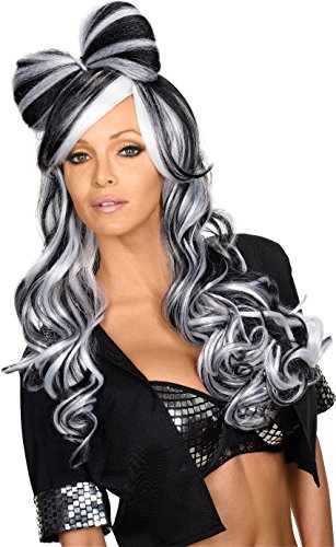 Rubie's Costume Women's Bow This Way Adult Black and White Wig, Black/White, One Size (Black And White Party Costumes)