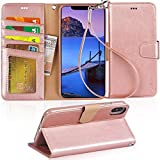 "iPhone Xs Max Case, Arae PU Leather Wallet case [Stand Feature] with Wrist Strap and [4-Slots] ID&Credit Cards Pocket for iPhone Xs Max 6.5"" - Rose Gold"