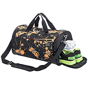Kuston Sports Gym Bag with Shoes Compartment Travel Duffel Bag for Men and Women (yellow)