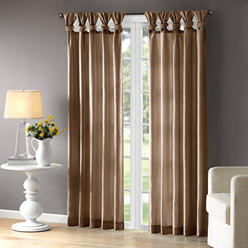 (Madison Park Emilia Room-Darkening Curtain DIY Twist Tab Window Panel Black-Out Drapes for Bedroom and Dorm, 50x95, Bronze)