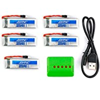 5PCS Quadcopter Battery, Emubody 3.7V 500mAh Li-Polymer Battery +A Five Charger For JJRC H37 RC Quadcopter