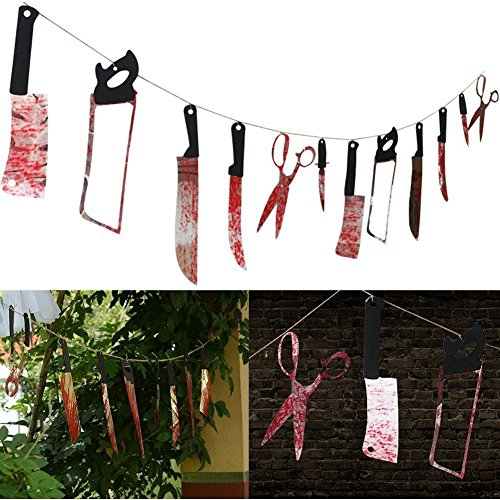 12PCS Bloody Splatter Weapons Props for Halloween Garland Party Decoration Haunted House Banner 7.9 ft /2.4M (Bloody (Halloween Decorations For House)