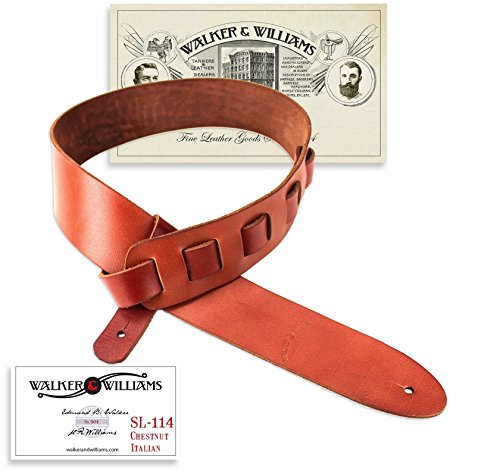 (Walker & Williams Italian Leather Guitar Strap Chestnut Brown Full Grain Soft Natural Finish)
