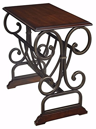 Signature Design by Ashley - Braunsen Chairside End Table - Contemporary Metal With Bronze Color - Rectangular - Brown (Wrought Iron Coffee Table With Wood Top)