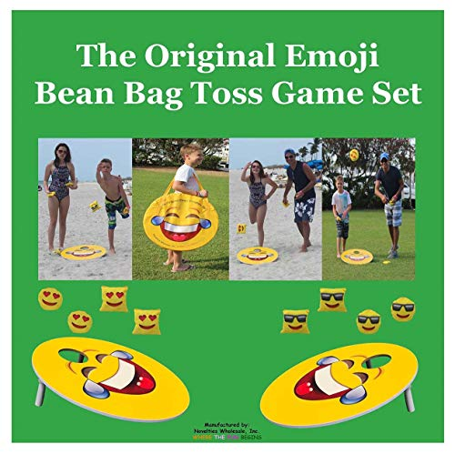 TheGag Cornhole Game for Kids Set-Bean Bag Toss Kids Children Family Party Fun 2 Emoji Boards 8 Emoji Bean Bags Carry Case Great Gift for Easter! Cornhole Indoor/Outdoor by TheGag (Image #3)