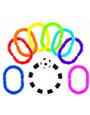 Sassy Ring O' Links,Safe Link Toys,Perfect for on the go,Link to Strollers,Easy to Grasp,Bright and Multicoloured,9 Piece Pack