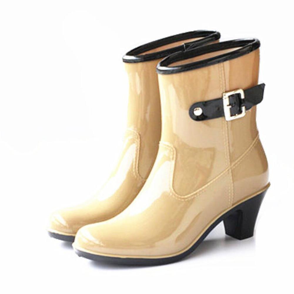 SIHUINIANHUA High Heel Regen Regen Regen Stiefel Damen Abschnitt Schnalle in der Röhre Regen Stiefel Gummischuhe Wasser Schuhe Khaki 40 7b9bb5