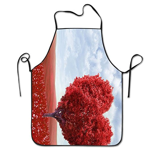 Personalized Apron Valentine (Happy Valentine Day Tree Heart Deluxe Aprons Personalized Printing Kitchen Apron)