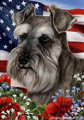 (Best of Breed Schnauzer Grey Uncropped Patriotic Garden Flags )