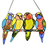 10.5'' H Stained Glass Tropical Birds Window Panel