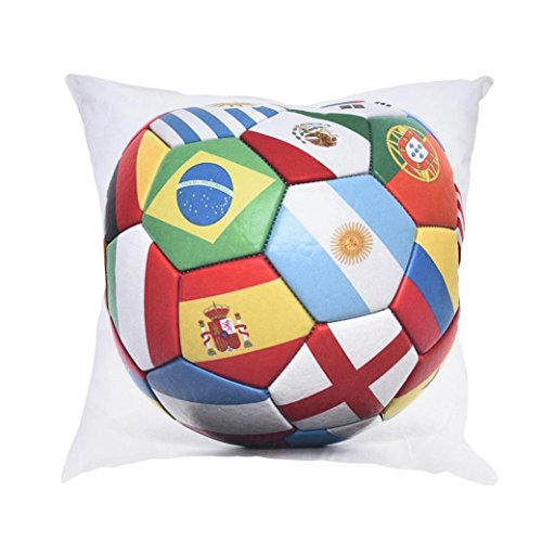 LiPing World Cup 2018 Theme -17.7x17.7in/45x45cm Square Polyester Cotton Soft Home Decor Cushion Cover Football Soccer Throw Pillowcase Pillow Covers With Hidden Zipper (A)