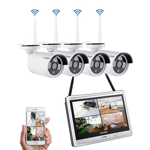 4CH Wifi Security Camera System with 12Inch 1.3MP Monitor NVR,LESHP Waterproof 4PCS 960P Wireless Surveillance Camera for Home/Indoor/Outdoor by LESHP